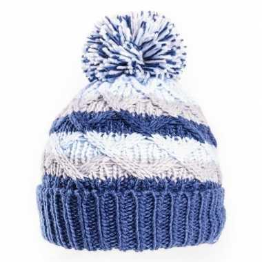 Goedkope gebreide winter muts blauw/grijs pompon baby