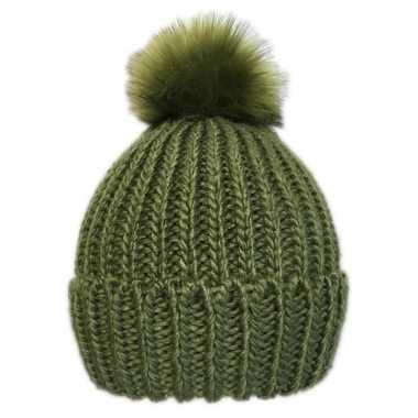 Goedkope gebreide winter muts groen pompon dames