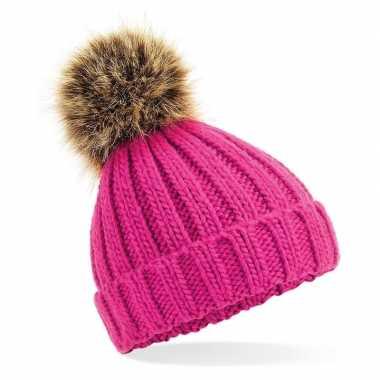 Goedkope gebreide wintermuts roze grof/chunky pompon meisjes