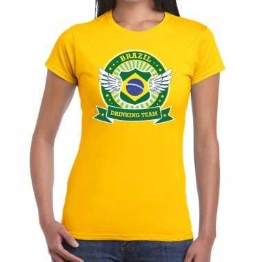 Goedkope geel brazil drinking team t shirt dames