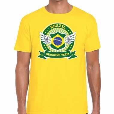 Goedkope geel brazil drinking team t shirt heren