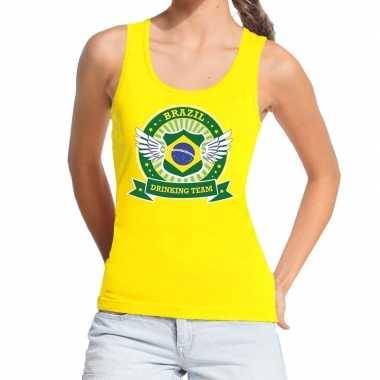 Goedkope geel brazil drinking team tanktop / mouwloos shirt dames