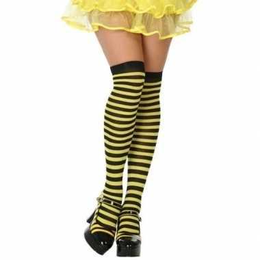 Goedkope geel/zwarte gestreepte verkleed kousen dames