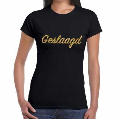 Goedkope geslaagd goud glitter tekst t shirt zwart dames