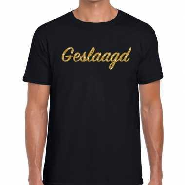Goedkope geslaagd goud glitter tekst t shirt zwart heren