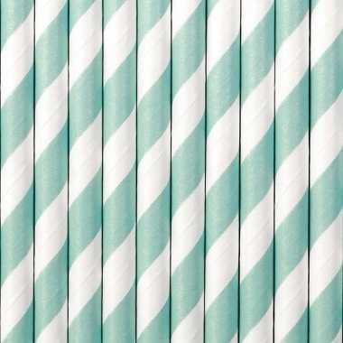 Goedkope gestreepte rietjes papier lichtblauw/wit stuks