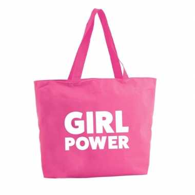 Goedkope girl power shopper tas fuchsia roze