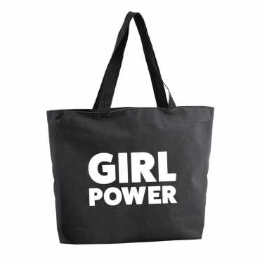 Goedkope girl power shopper tas zwart