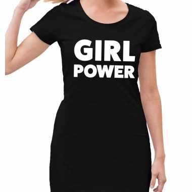 Goedkope girl power tekst jurkje zwart dames