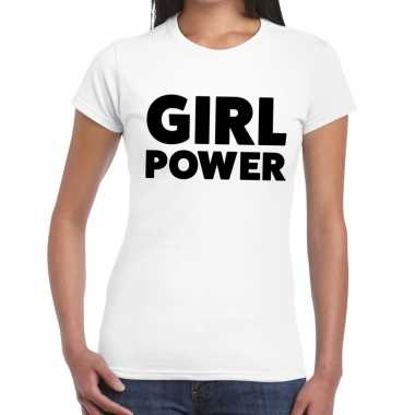 Goedkope girl power tekst t shirt wit dames