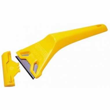 Goedkope glasschraper / verfkrabber kunststof geel