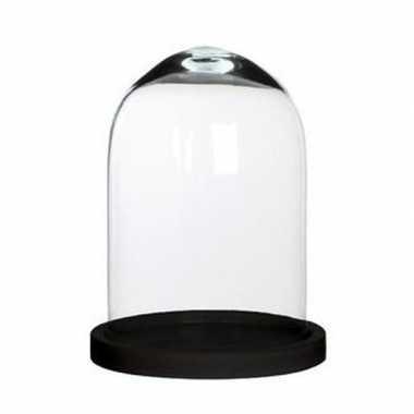 Goedkope glazen decoratie stolp hella zwart houten plateau