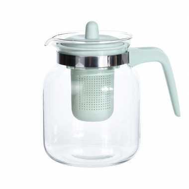 Goedkope glazen theepot groen filter