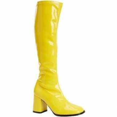 Goedkope glimmende gele laarzen dames