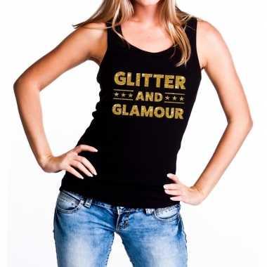 Goedkope glitter and glamour glitter tanktop / mouwloos shirt zwart d