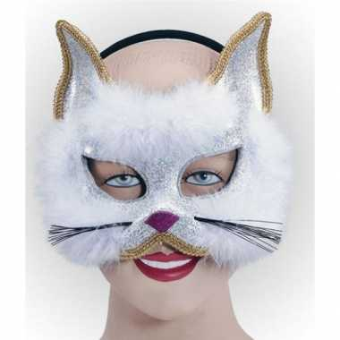 Goedkope glitter kat masker wit
