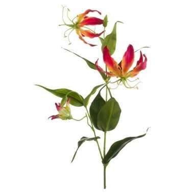 Goedkope gloriosa kunstbloem rood/geel