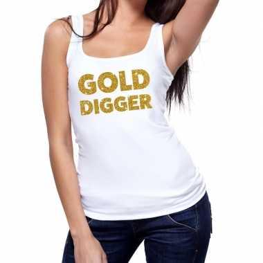 Goedkope gold digger glitter tanktop / mouwloos shirt wit dames