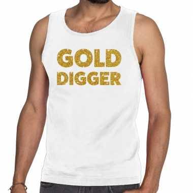 Goedkope gold digger glitter tanktop / mouwloos shirt wit heren