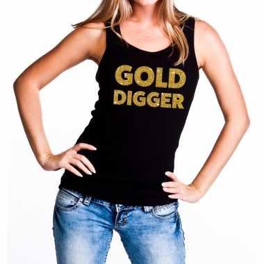 Goedkope gold digger glitter tanktop / mouwloos shirt zwart dames