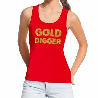 Goedkope gold digger glitter tekst tanktop / mouwloos shirt rood dame