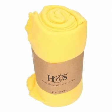 Goedkope goud gele fleece deken/kleed