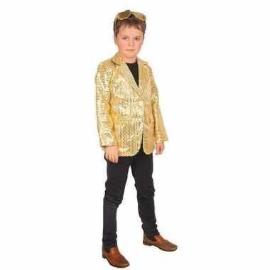 Goedkope goud glitter verkleed jasje kinderen