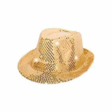 Goedkope goud pailletten hoedje led licht