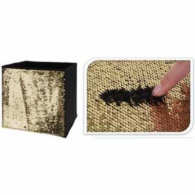 Goedkope goud/zwarte opbergdoos omkeerbare pailletten