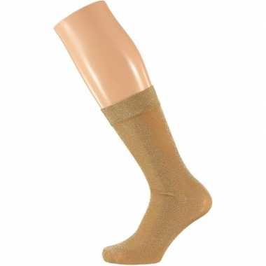 Goedkope gouden dames party glitter sokken lurex maat