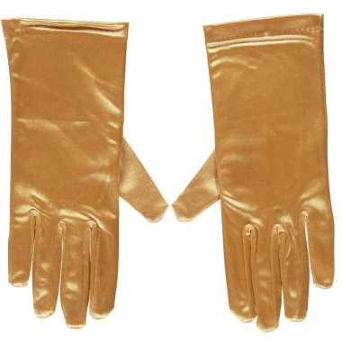 Goedkope gouden gala handschoenen kort satijn