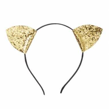 Goedkope gouden glitter diadeem katten oortjes