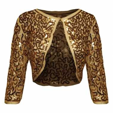 Goedkope gouden glitter pailletten disco bolero jasje dames