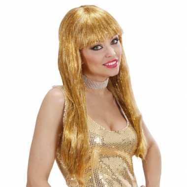 Goedkope gouden glitter pruik