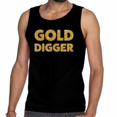 Goedkope gouden golddigger glitter tanktop / mouwloos shirt zwart her