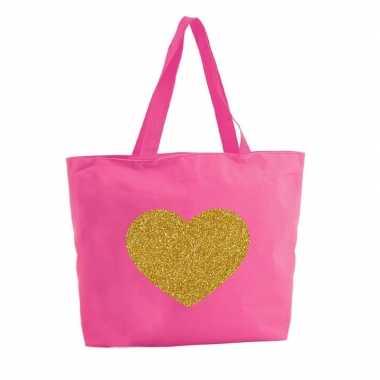 Goedkope gouden hart glitter shopper tas fuchsia roze