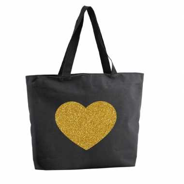 Goedkope gouden hart glitter shopper tas zwart