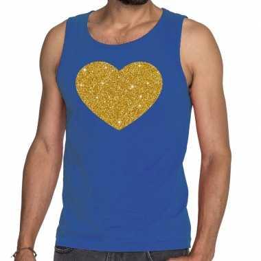 Goedkope gouden hart glitter tanktop / mouwloos shirt blauw heren