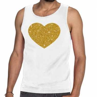 Goedkope gouden hart glitter tanktop / mouwloos shirt wit heren