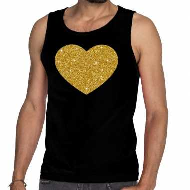 Goedkope gouden hart glitter tanktop / mouwloos shirt zwart heren