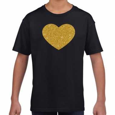Goedkope gouden hart gouden glitter t shirt zwart kids