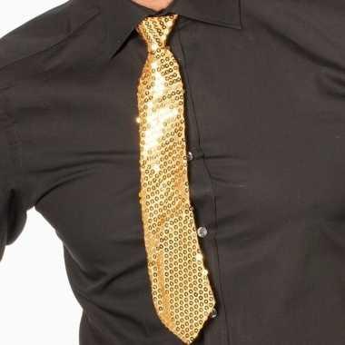 Goedkope gouden oud nieuw glitter stropdas verkleedaccessoire