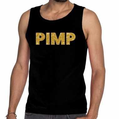 Goedkope gouden pimp glitter tanktop / mouwloos shirt zwart heren
