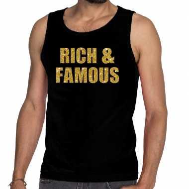 Goedkope gouden rich & famous glitter tanktop / mouwloos shirt zw