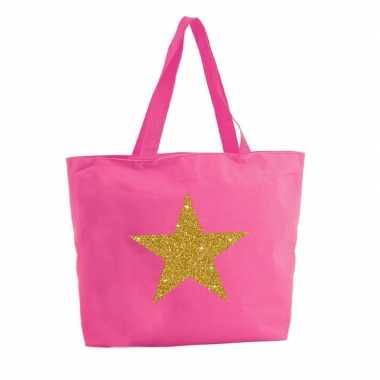 Goedkope gouden ster glitter shopper tas fuchsia roze