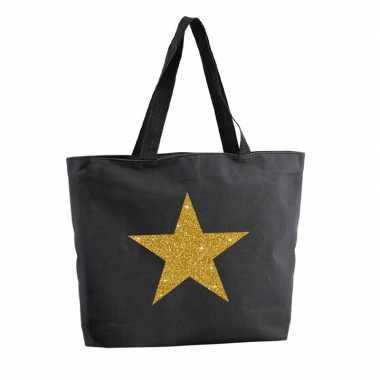 Goedkope gouden ster glitter shopper tas zwart