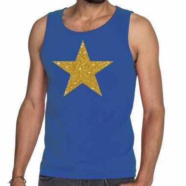 Goedkope gouden ster glitter tanktop / mouwloos shirt blauw heren
