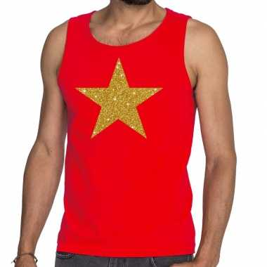Goedkope gouden ster glitter tanktop / mouwloos shirt rood heren