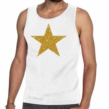 Goedkope gouden ster glitter tanktop / mouwloos shirt wit heren
