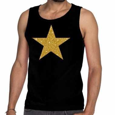 Goedkope gouden ster glitter tanktop / mouwloos shirt zwart heren